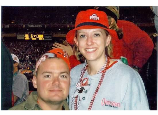 January 3, 2002  Final Score:  Buckeyes 31, Hurricanes 24 (the girl still has the sweatshirt which she stole from her Buckeye)